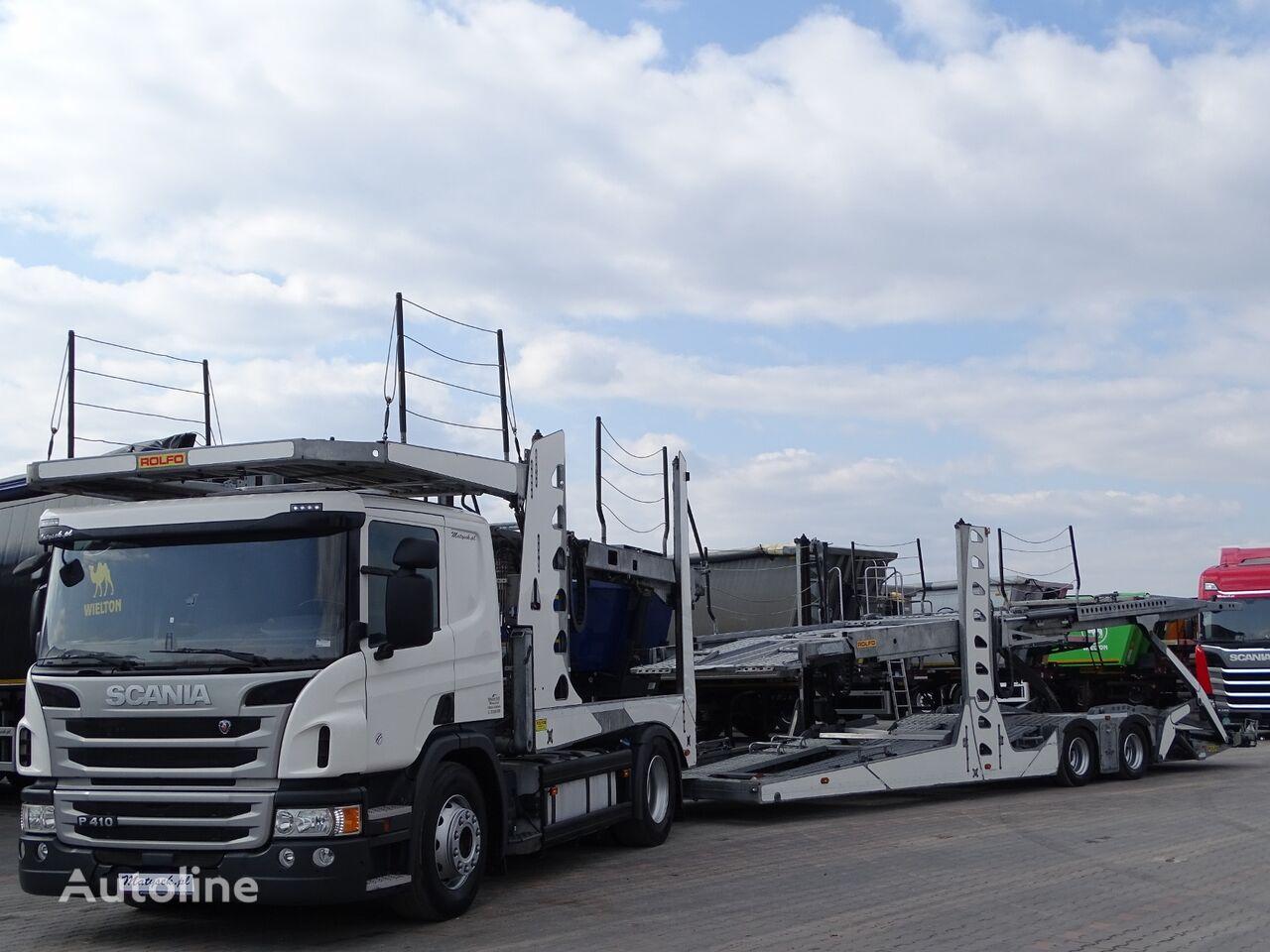 автовоз SCANIA P 410 / AUTOTRANSPORTER / ROLFO EGO 4 + ROLFO DYNAMIC 7/ RETARDE + причіп автовоз